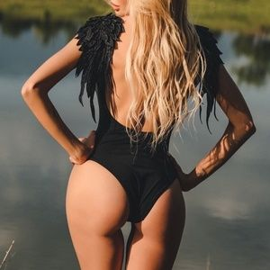 Evil Angel Sexy Black One Piece Swimsuit W/ Wings